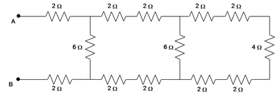 Thirteen resistors are connected between two points